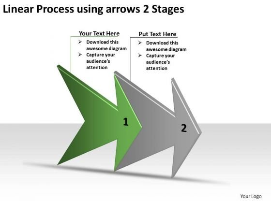 Linear Process Using Arrows 2 Stages Flow Charting PowerPoint Templates