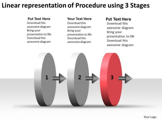 Linear Representation Of Procedure Using 3 Stages Ppt Make Flow Charts PowerPoint Templates