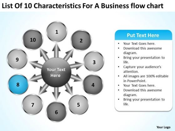List Of 10 Characteristics For Business Flow Chart Ppt Gear PowerPoint Slides