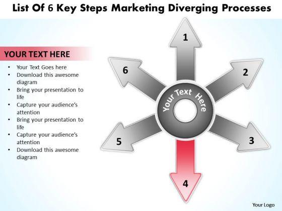 List Of 6 Key Steps Marketing Diverging Processes Circular Chart PowerPoint Slides