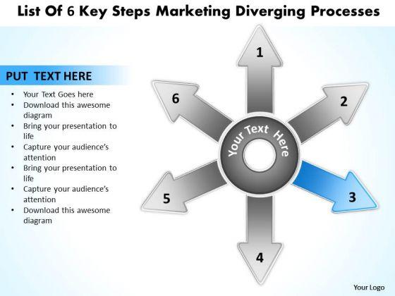 List Of 6 Key Steps Marketing Diverging Processes Radial Diagram PowerPoint Slides