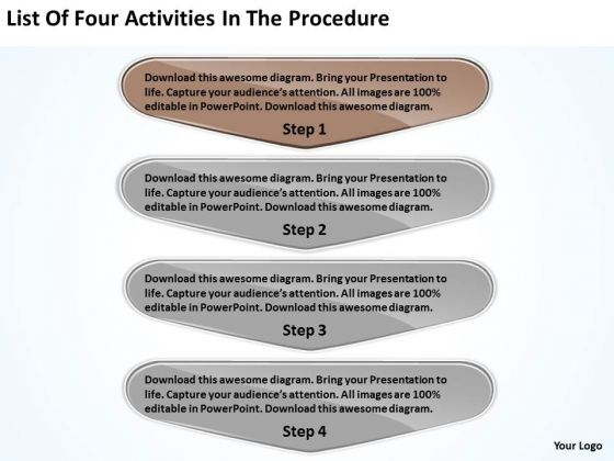 List Of Four Activities In The Procedure Business Plan Template PowerPoint Templates