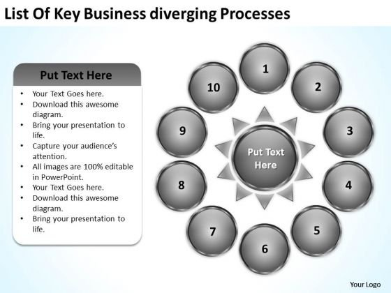 List Of Key Business Diverging Processes Gear Chart PowerPoint Slides