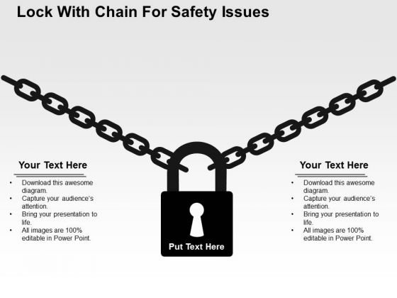 Lock With Chain For Safety Issues PowerPoint Template