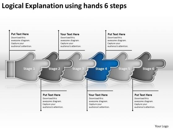 Logical Explanation Using Hands 6 Steps Microsoft Flowchart PowerPoint Slides