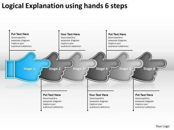 Logical Explanation Using Hands 6 Steps Online Flowchart Maker PowerPoint Slides