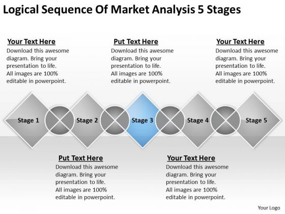 Logical Sequence Of Market Analysis 5 Stages Ppt Business Plan PowerPoint Templates