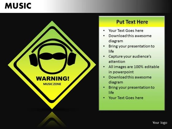 Loud Music Warning PowerPoint Templates Ppt Design Slides