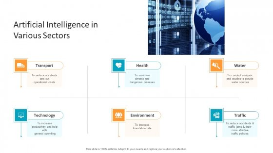 Machine Learning PPT Slides Artificial Intelligence In Various Sectors Introduction PDF
