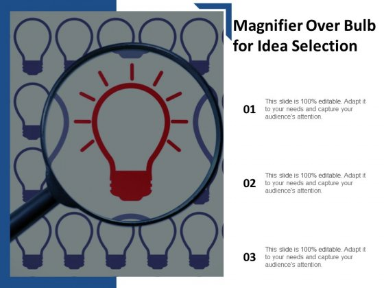 Magnifier Over Bulb For Idea Selection Ppt Powerpoint Presentation Gallery Sample