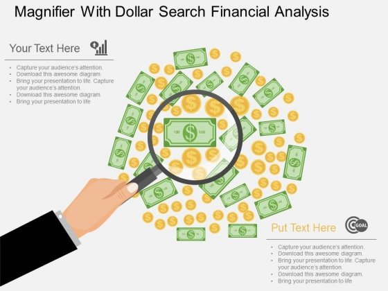 Magnifier With Dollar Search Financial Analysis Powerpoint Template