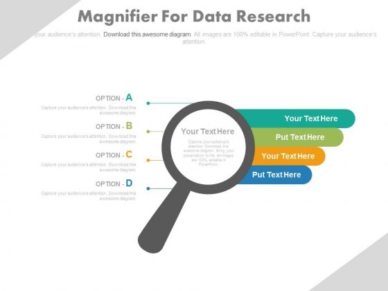 Magnifier With Four Options Tags Powerpoint Slides