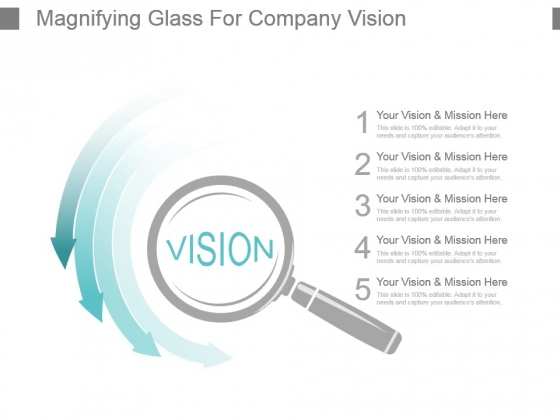 Magnifying Glass For Company Vision Powerpoint Slides Design