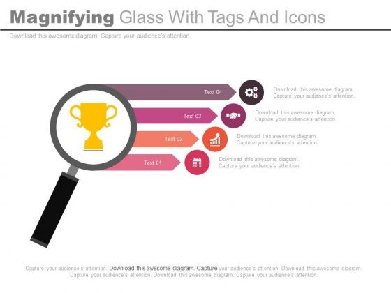 Magnifying Glass With Tags And Icons For Success Powerpoint Slides