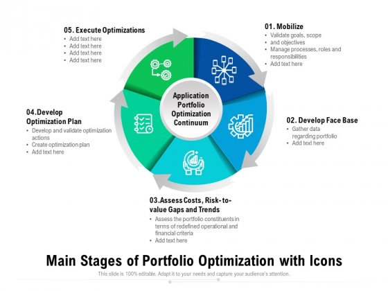 Main Stages Of Portfolio Optimization With Icons Ppt PowerPoint Presentation File Templates PDF