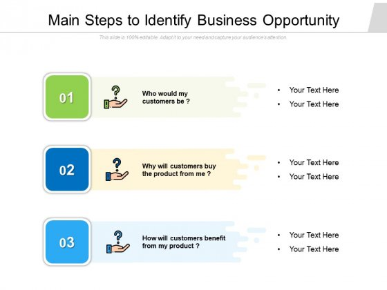 Main Steps To Identify Business Opportunity Ppt PowerPoint Presentation Gallery Designs PDF