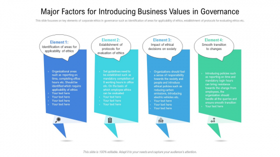 Major Factors For Introducing Business Values In Governance Ppt PowerPoint Presentation File Brochure PDF