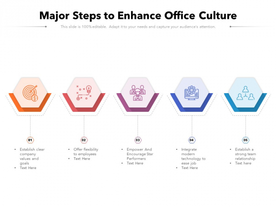 Major Steps To Enhance Office Culture Ppt PowerPoint Presentation File Show PDF