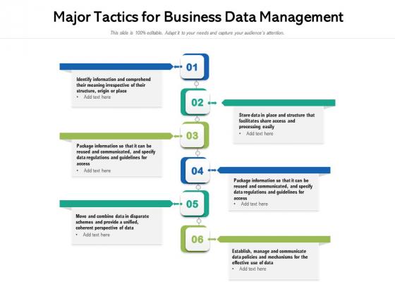 Major Tactics For Business Data Management Ppt PowerPoint Presentation File Show PDF
