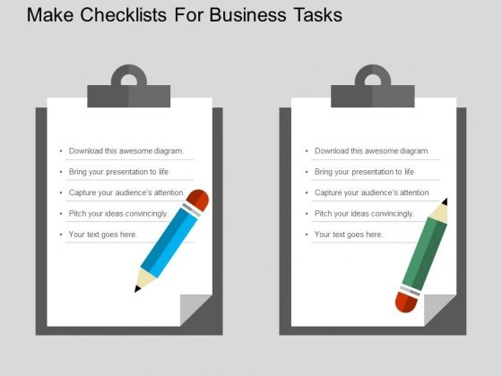 Make Checklists For Business Tasks Powerpoint Templates