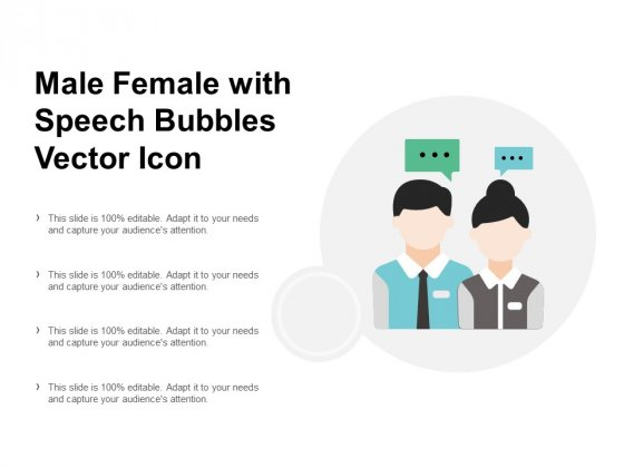 Male Female With Speech Bubbles Vector Icon Ppt PowerPoint Presentation Show Guidelines