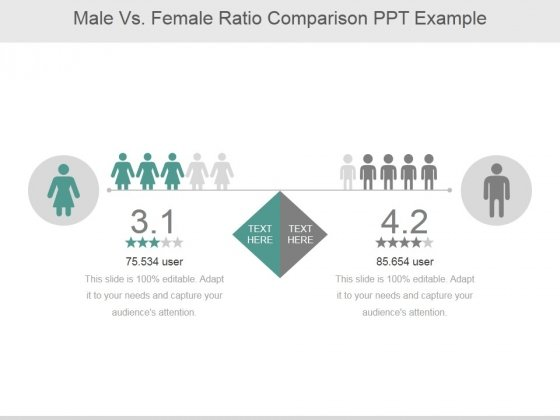 Male Vs Female Ratio Comparison Ppt PowerPoint Presentation Background Image