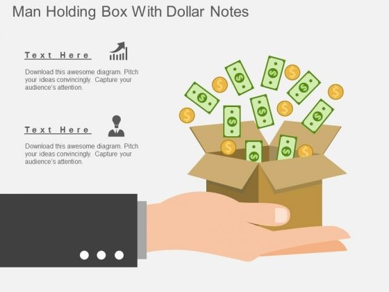 Man Holding Box With Dollar Notes Powerpoint Template