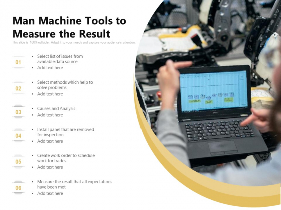 Man Machine Tools To Measure The Result Ppt PowerPoint Presentation File Visuals PDF