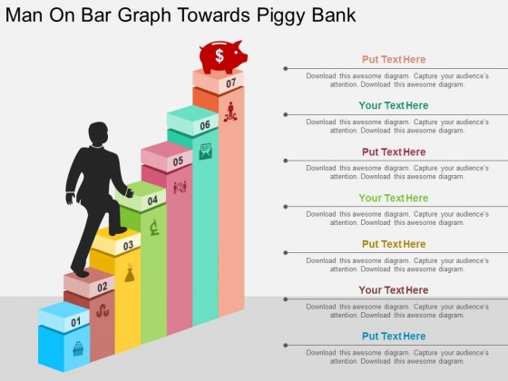 Man On Bar Graph Towards Piggy Bank Powerpoint Templates