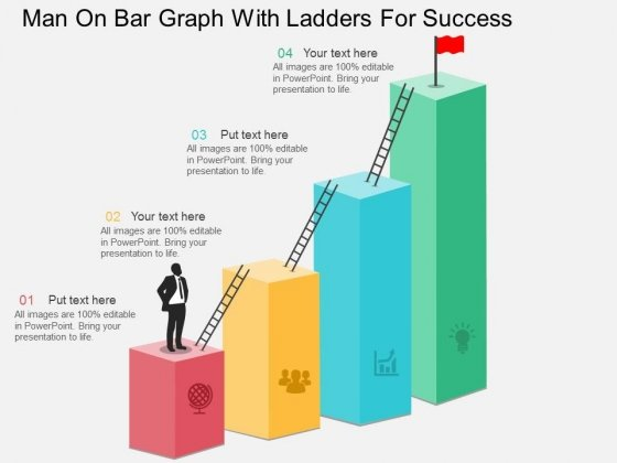 Man On Bar Graph With Ladders For Success Powerpoint Template