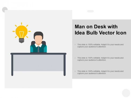 Man On Desk With Idea Bulb Vector Icon Ppt PowerPoint Presentation Pictures Clipart