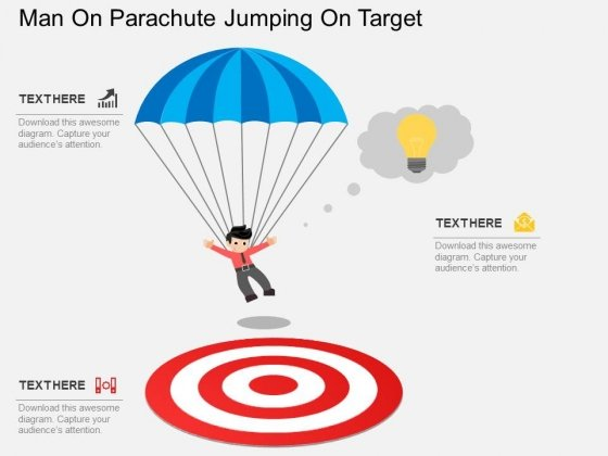Man On Parachute Jumping On Target Powerpoint Template