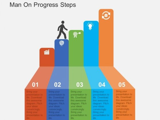Man On Progress Steps Powerpoint Templates