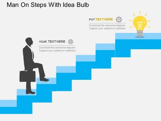 Man On Steps With Idea Bulb Powerpoint Templates