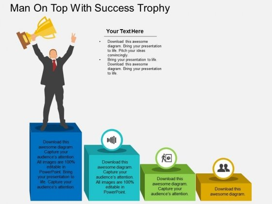 Man On Top With Success Trophy Powerpoint Template