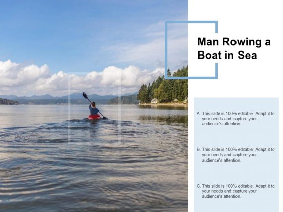 Man Rowing A Boat In Sea Ppt PowerPoint Presentation Inspiration Brochure