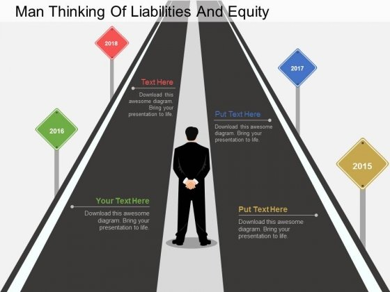 Man Thinking Of Liabilities And Equity Powerpoint Template