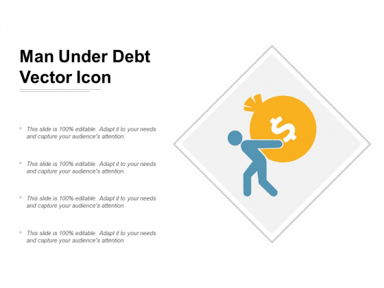 Man Under Debt Vector Icon Ppt Powerpoint Presentation Outline Visuals