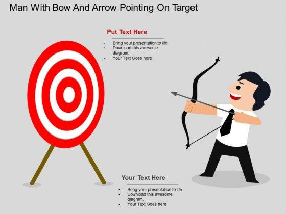 Man With Bow And Arrow Pointing On Target Powerpoint Template
