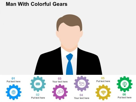 Man With Colorful Gears Powerpoint Templates