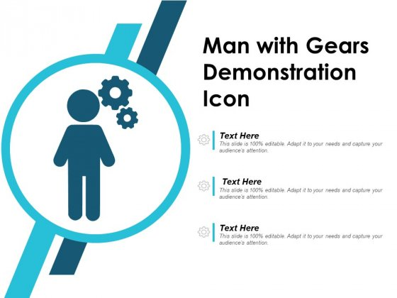 Man With Gears Demonstration Icon Ppt Powerpoint Presentation Professional Example Topics