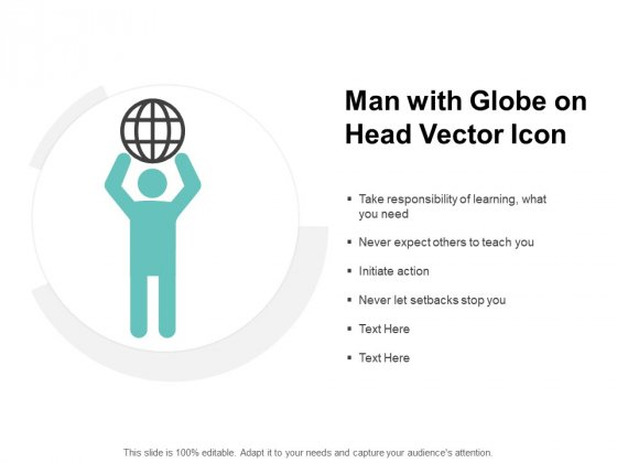 Man With Globe On Head Vector Icon Ppt PowerPoint Presentation File Example Topics