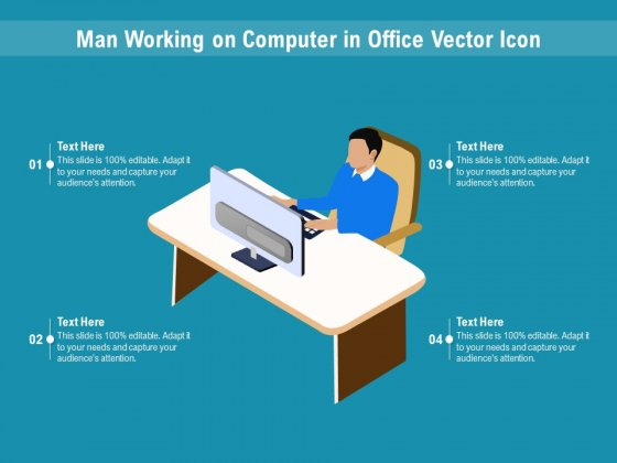 Man Working On Computer In Office Vector Icon Ppt PowerPoint Presentation File Gridlines PDF