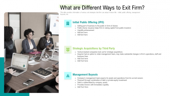 Management Acquisition As Exit Strategy Ownership Transfer What Are Different Ways To Exit Firm Rules PDF