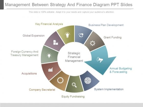 Management Between Strategy And Finance Diagram Ppt Slides