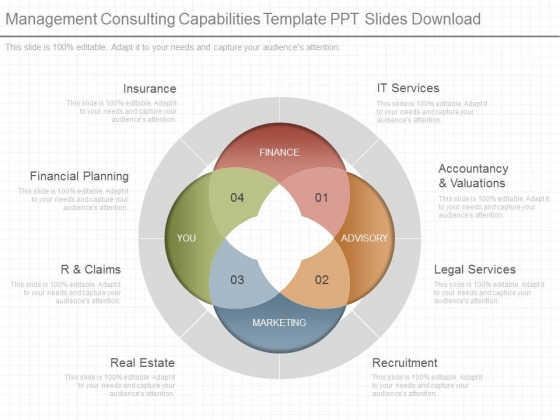 Management Consulting Capabilities Template Ppt Slides Download