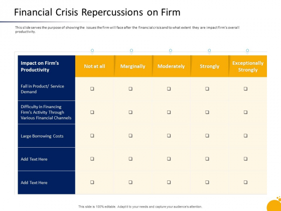 Management Program Presentation Financial Crisis Repercussions On Firm Background PDF