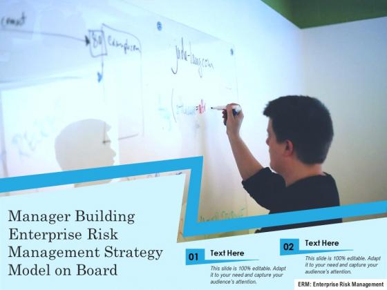 Manager Building Enterprise Risk Management Strategy Model On Board Ppt PowerPoint Presentation File Shapes PDF
