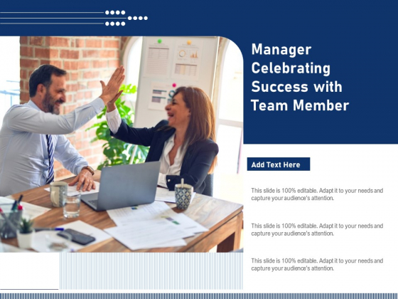 Manager Celebrating Success With Team Member Ppt PowerPoint Presentation Icon Files PDF