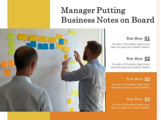 Manager Putting Business Notes On Board Ppt PowerPoint Presentation Infographics Professional PDF